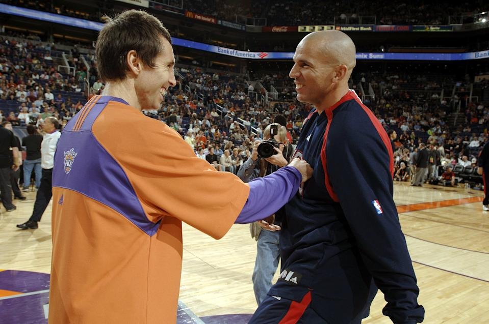 Steve Nash (L) and Jason Kidd, two of the greatest point guards of the last generation, will reportedly join Grant Hill for induction this summer into the Naismith Memorial Basketball Hall of Fame. (Getty)