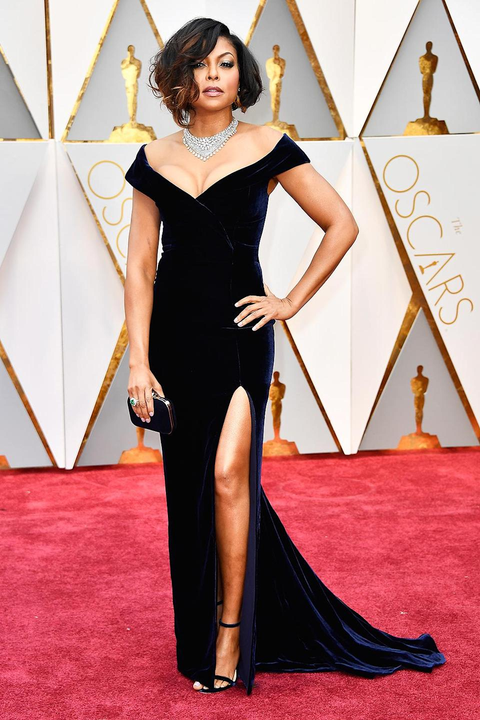 """<p>Actress Taraji P. Henson attends the 89th Annual Academy Awards at Hollywood & Highland Center on February 26, 2017 in Hollywood, California. (Photo by Frazer Harrison/Getty Images)<br><br><a rel=""""nofollow"""" href=""""https://www.yahoo.com/style/oscars-2017-vote-for-the-best-and-worst-dressed-225105125.html"""" data-ylk=""""slk:Go here to vote for best and worst dressed.;outcm:mb_qualified_link;_E:mb_qualified_link;ct:story;"""" class=""""link rapid-noclick-resp yahoo-link"""">Go here to vote for best and worst dressed.</a> </p>"""