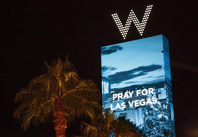 <p>A sign at the W hotel on the Las Vegas Strip pays tribute to the victims of a mass shooting in Las Vegas, Nevada, USA, 02 October 2017. (Photo: Eugene Garcia/EPA-EFE/REX/Shutterstock) </p>