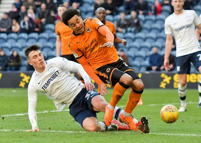 "Soccer Football - Championship - Preston North End vs Wolverhampton Wanderers - Deepdale, Preston, Britain - February 17, 2018 Wolverhampton Wanderers' Helder Costa in action with Preston's Josh Earl Action Images/Paul Burrows EDITORIAL USE ONLY. No use with unauthorized audio, video, data, fixture lists, club/league logos or ""live"" services. Online in-match use limited to 75 images, no video emulation. No use in betting, games or single club/league/player publications. Please contact your account representative for further details."