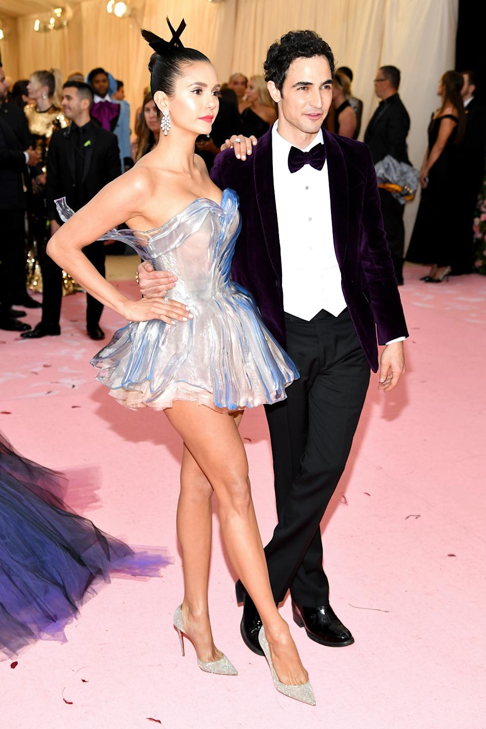 """<h1 class=""""title"""">Nina Dobrev in Zac Posen and Christian Louboutin shoes and Zac Posen in Brooks Brothers</h1><cite class=""""credit"""">Photo: Getty Images</cite>"""