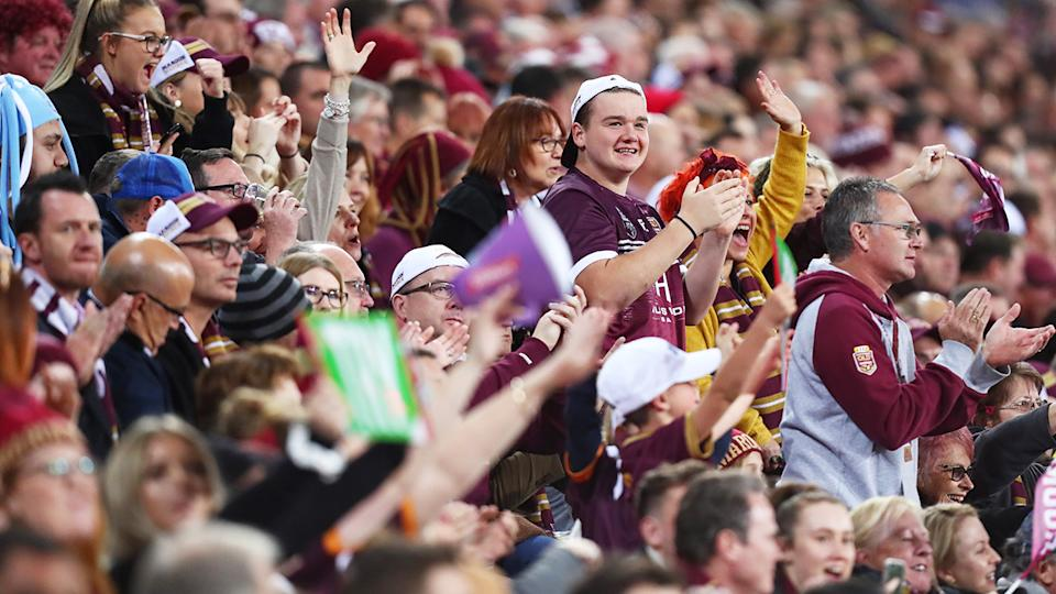 State of Origin fans, pictured here at Suncorp Stadium.