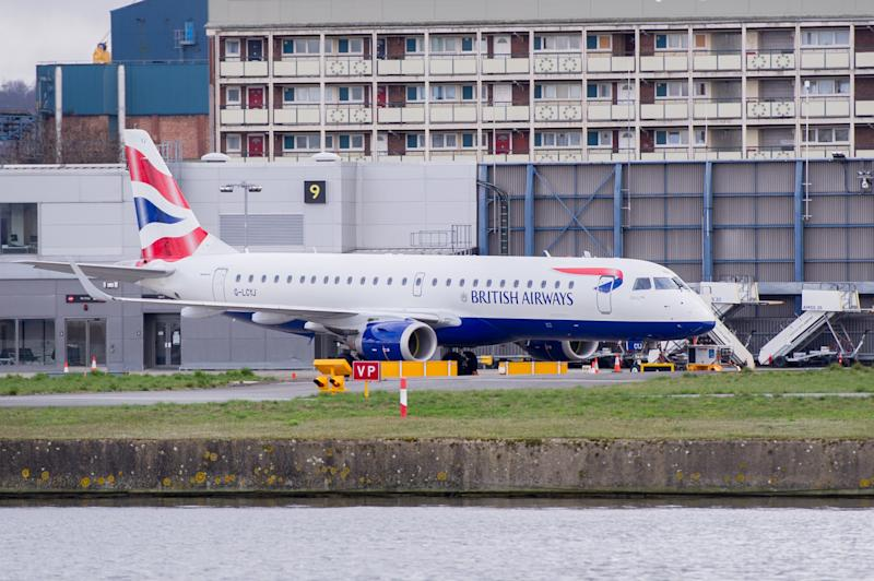 British Airways flights are seen grounded at City Airport in London, England as multiple European flights are cancelled due to the Coronavirus pandemic. (Ollie Millington/Getty Images)