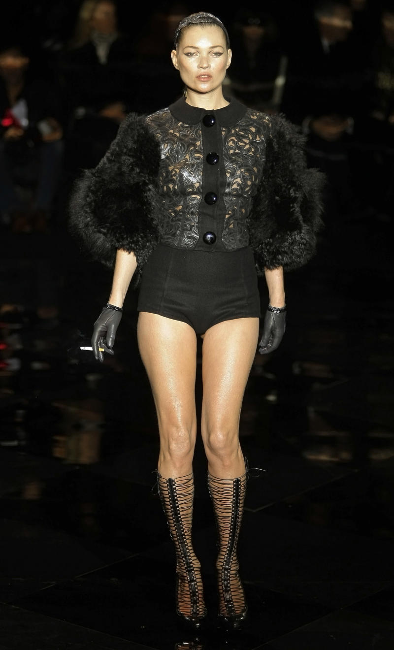 British model Kate Moss wears a creation by American fashion designer Marc Jacobs for Louis Vuitton's Fall-Winter, ready-to-wear 2012 fashion collection, during Paris Fashion week, presented in Paris, Wednesday, March. 9, 2011. (AP Photo/Jacques Brinon)