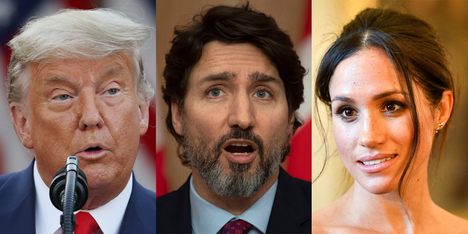 The most popular search term in 2020 among Canadians was Donald Trump, while they also took heavy interest in topics relating to COVID-19 and Canada's response, as well as Megan Markle of the British royal family. (Credit: Associated Press/Getty Images)