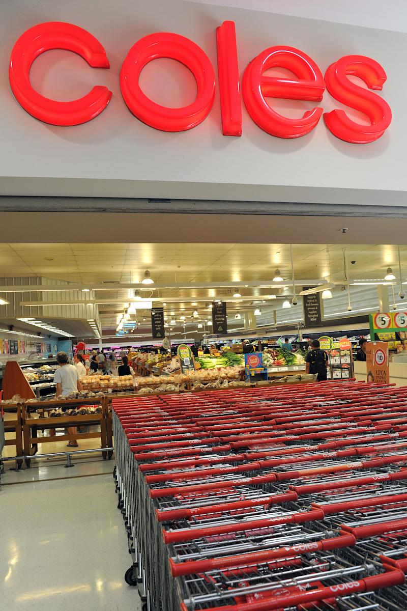 A Coles supermarket with trolleys outside is pictured in this file image.