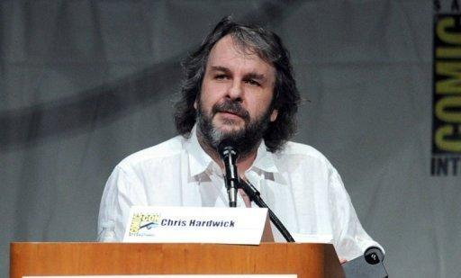 """""""The Hobbit"""" trilogy director Peter Jackson speaks at a film preview in San Diego in July 2012. In a statement defending the treatment of animals during filming, """"The Hobbit"""" producers have said that 55% of shots featuring animals in the trilogy, which has a budget estimated at US$500 million, were computer-generated"""