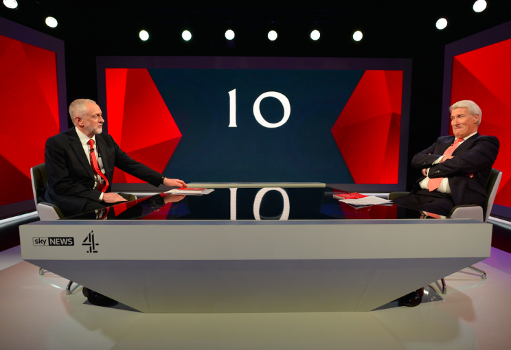 Mr Corbyn faces off against the other Jeremy - Paxman (Picture: PA)