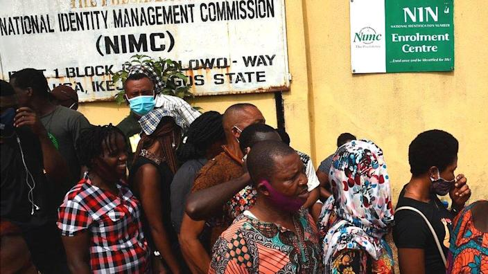 People gathered at a registration point for Nigeria's national identification number