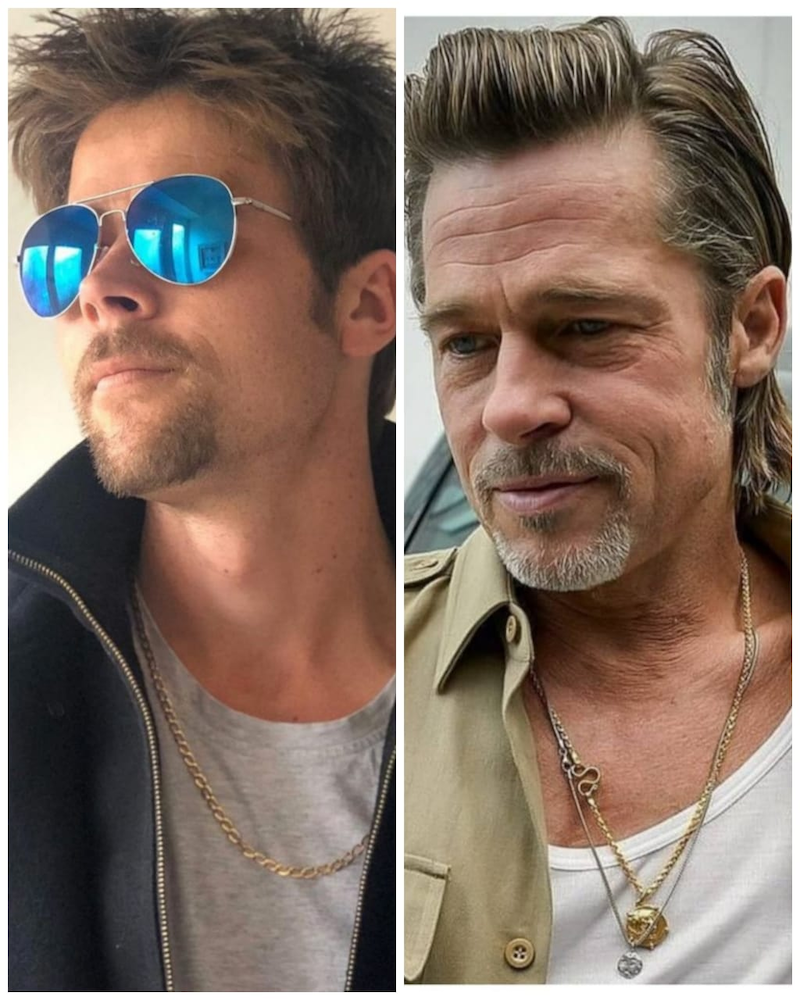 Resembling Oscar winner Brad Pitt (right) is a bane for British single father Nathan Meads in the love department. — Photos from Instagram/ bradpitt_lookalike & bradpittofflcial
