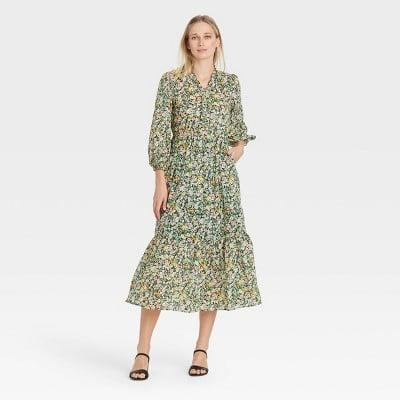<p>Style this <span>Who What Wear Balloon Long Sleeve Dress</span> ($40) with low-heeled sandals and a bright yellow tote for an elevated brunch look.</p>