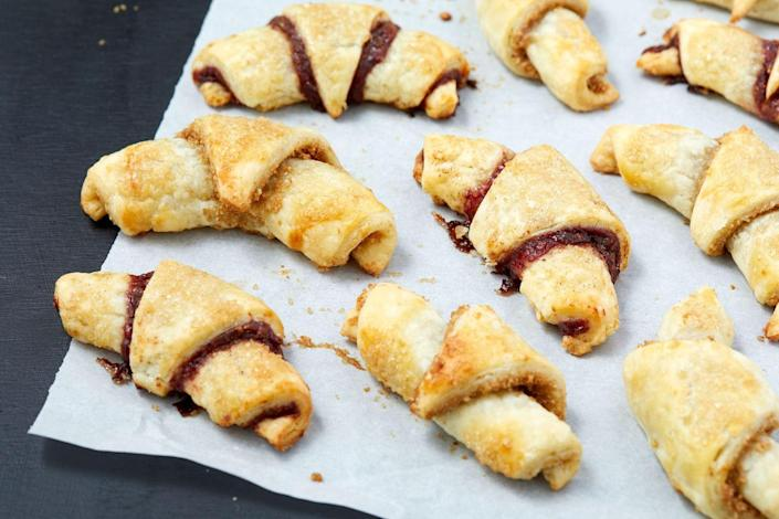 """<p>Rugelach is a soft, flaky, filled pastry and we can't get enough.<br></p><p>Get the recipe from <a href=""""https://www.delish.com/cooking/recipe-ideas/a32271517/rugelach-recipe/"""" rel=""""nofollow noopener"""" target=""""_blank"""" data-ylk=""""slk:Delish"""" class=""""link rapid-noclick-resp"""">Delish</a>.</p>"""