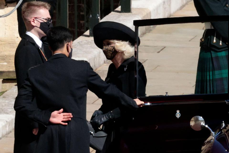 Camilla, Duchess of Cornwall arrives for the funeral of Britains Prince Philip inside Windsor Castle in Windsor, England.