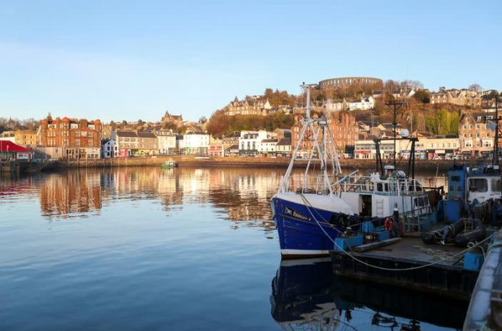 FILE PHOTO: A fishing boat is seen at Oban harbor in Scotland