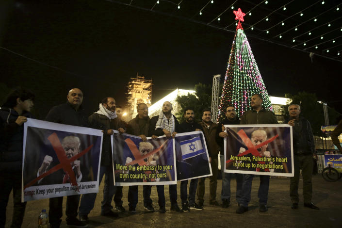 Palestinians in the West Bank protest President Trump's decision to move the U.S. Embassy in Israel to Jerusalem, Dec. 6, 2017. (Photo: Mahmoud Illean/AP)