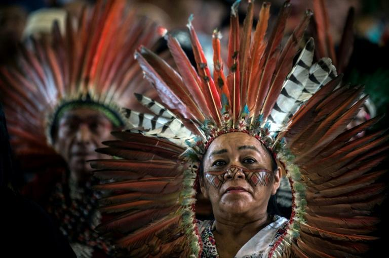 Members of indigenous communities from Peru, Brazil and Bolivia gathered for the assembly of the Amazonian church in Puerto Maldonado, Peru, ahead of Pope Francis' arrival on Thursday