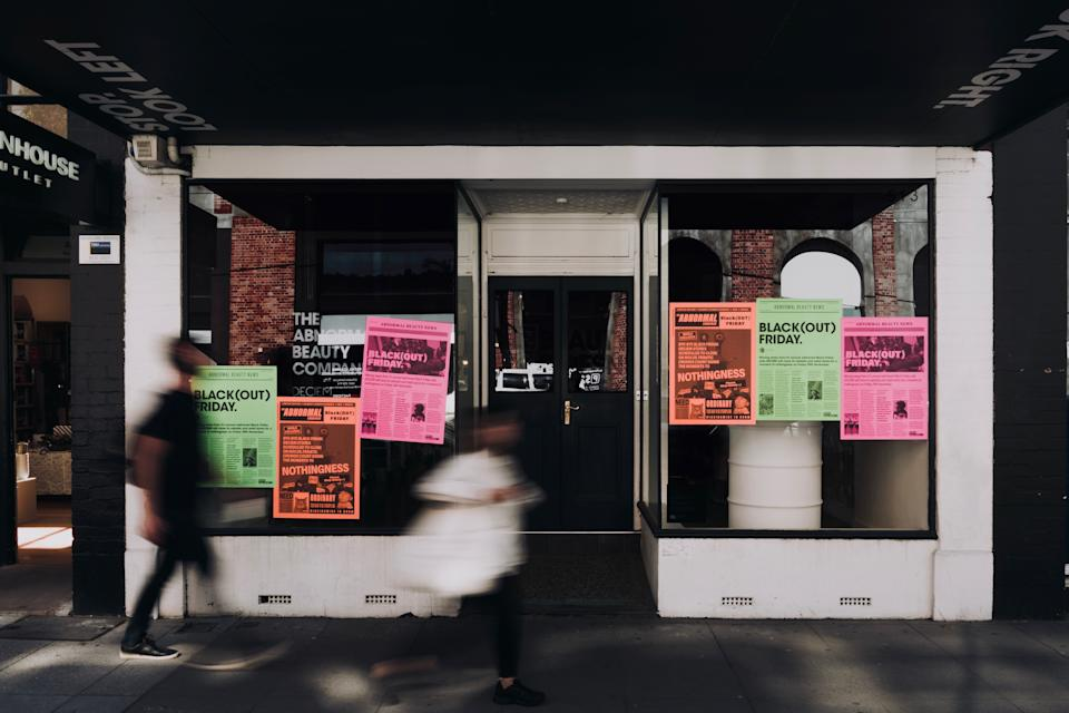 Posters on the closed Melbourne The Ordinary store.