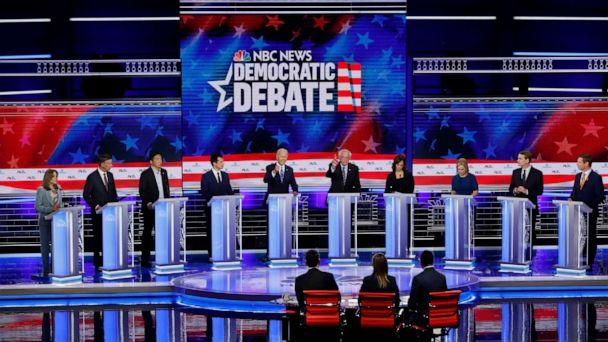 PHOTO: 2020 democratic presidential candidates participate in the second night of the first 2020 democratic presidential debate at the Adrienne Arsht Center for the Performing Arts in Miami, June 27, 2019. (Mike Segar/Reuters)