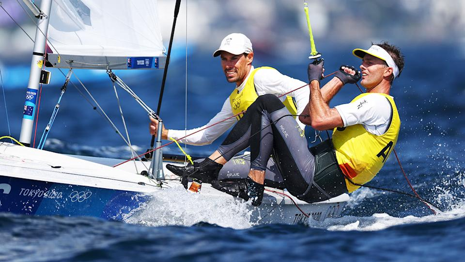 Pictured here, Aussie sailors Matt Belcher and Will Ryan are a strong chance to medal in the 470 event.