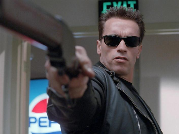 Terminator 2: Judgment Day (also referred to as Terminator 2 or T2) is a 1991 American science-fiction action film co-written, produced and directed by James Cameron. The film stars Arnold Schwarzenegger, Linda Hamilton, and Robert Patrick, with Edward Fu (Alamy Stock Photo)
