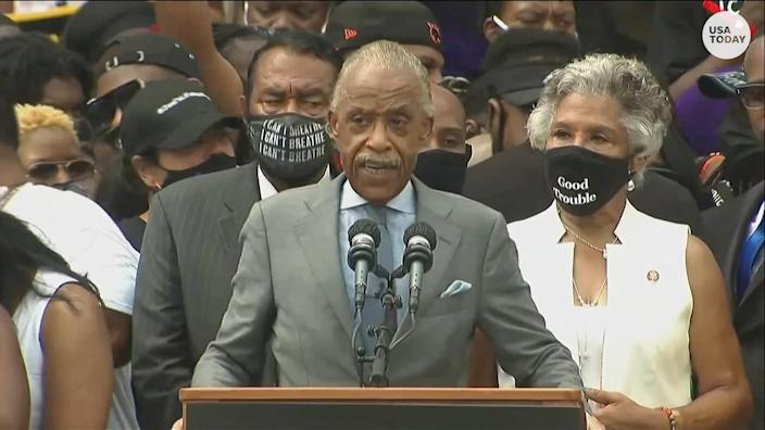 Rev. Al Sharpton speaks on saying 'Black lives matter' during his speech at the 57th anniversary of the March on Washington.