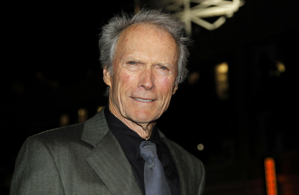 """Director Clint Eastwood arrives at the premiere of """"J. Edgar"""" during the Opening Night Gala of AFI FEST 2011 in Los Angeles, Thursday, Nov. 3, 2011.  """"J. Edgar"""" opens in theaters Nov. 9, 2011.  (AP Photo/Matt Sayles)"""