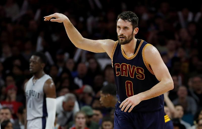 Kevin Love, pictured in December 2016, is likely to be replaced by Channing Frye in the starting lineup for the Cleveland Cavaliers