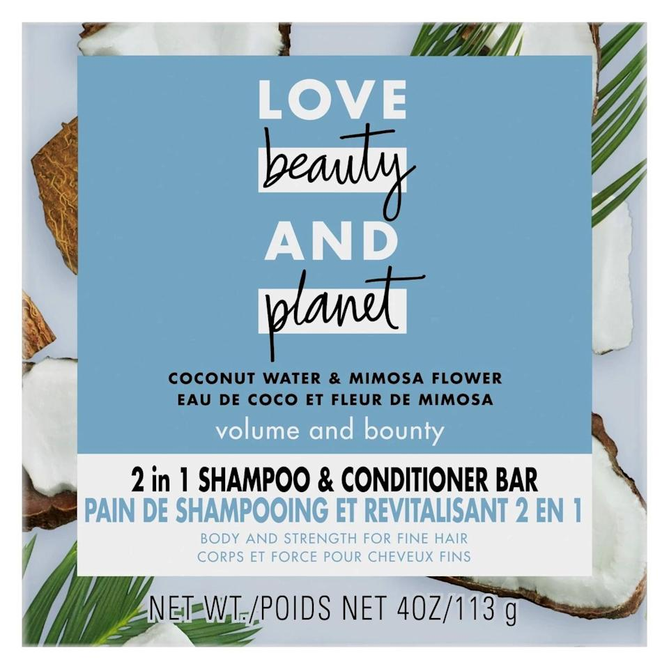 <p>The <span>Love Beauty and Planet Coconut Water Shampoo and Conditioner Bar</span> ($5) cleanses your hair and scalp, and is housed in a recyclable carton. Plus, it also contains conditioner.</p>