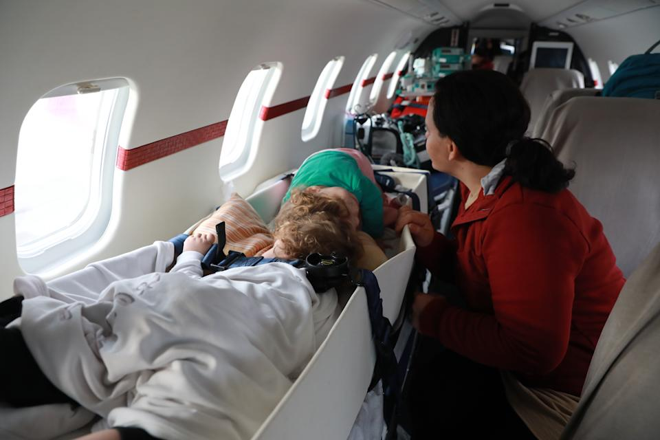 ANTALYA, TURKEY - (ARCHIVE): A file photo dated on December 01, 2019 shows siamese twins Derman and Yigit Evrensel and their mother Fatma departing from Antalya, Turkey to United Kingdom for surgery. With the helping hand from Turkish President Recep Tayyip Erdogan, the 2-year-olds Derman and Yigit were operated in the United Kingdom and successfully separated. (Photo by Aytug Can Sencar/Anadolu Agency via Getty Images)