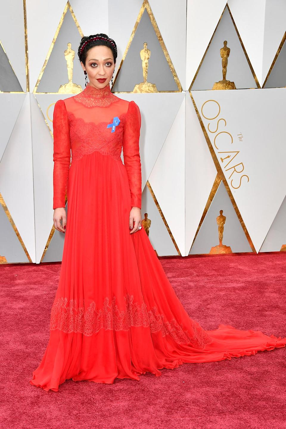<p>For her first Academy Awards, Ruth Negga wore a custom Valentino gown that she paired with an ACLU pin and a ruby crown. <em>(Photo: Getty Images)</em> </p>