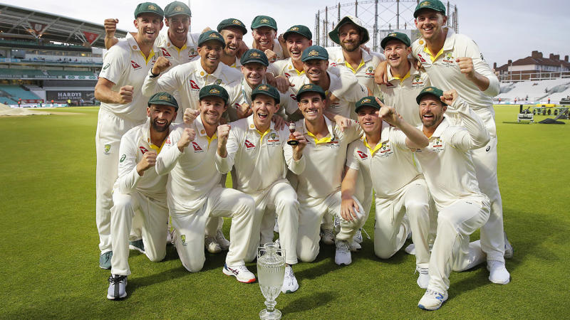 Australian players, pictured here celebrating with the Ashes urn.