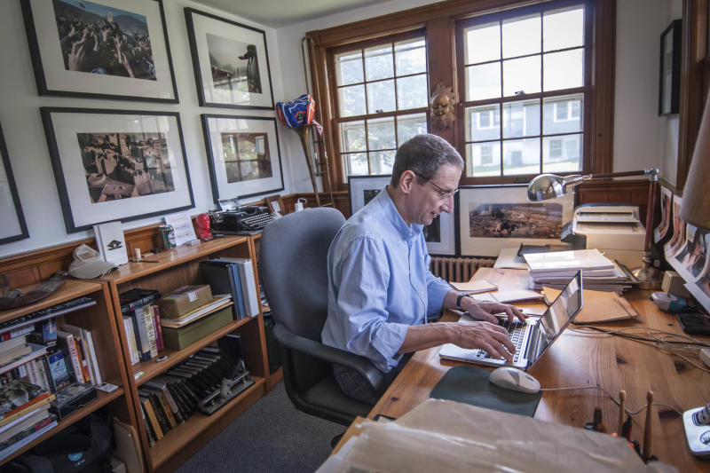 "In this Sept. 19, 2012 photo provided by the Chicago-based John D. and Catherine T. MacArthur Foundation, David Finkel, 56, a Washington Post journalist whose long-form newswriting has transformed readers' understanding of military service and sacrifice, is seen at his home in Silver Spring, Md. Finkel is among 23 recipients of this year's MacArthur Foundation ""genius grants."" (AP Photo/Courtesy of the John D. and Catherine T. MacArthur Foundation, John Spaulding)"