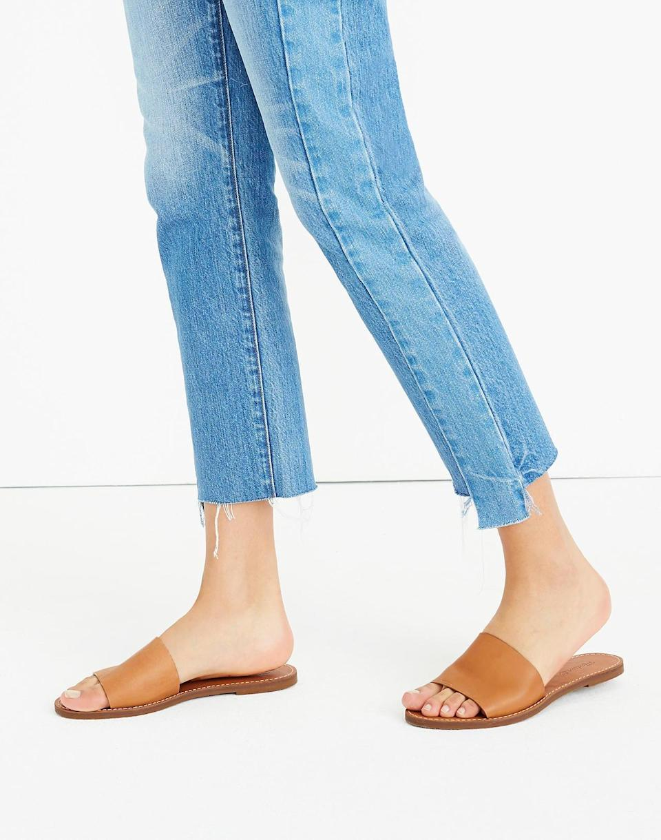 """<br> <br> <strong>Madewell</strong> The Boardwalk Post Slide Sandal, $, available at <a href=""""https://go.skimresources.com/?id=30283X879131&url=https%3A%2F%2Fwww.madewell.com%2Fthe-boardwalk-post-slide-sandal-J0201.html"""" rel=""""nofollow noopener"""" target=""""_blank"""" data-ylk=""""slk:Madewell"""" class=""""link rapid-noclick-resp"""">Madewell</a>"""