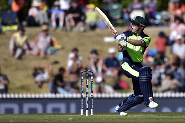 Ireland's batsman Ed Joyce plays a shot during the Pool B 2015 Cricket World Cup match between Ireland and the West Indies at Saxton Park Oval in Nelson on February 16, 2015 (AFP Photo/Marty Melville)