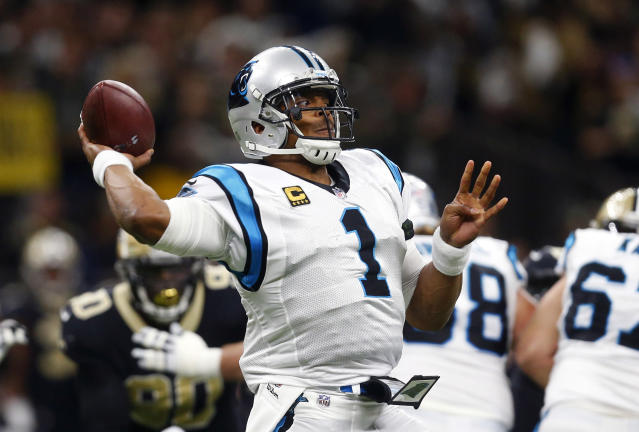 Carolina Panthers quarterback Cam Newton (1) passes in the first half of an NFL football game against the New Orleans Saints in New Orleans, Sunday, Jan. 7, 2018. (AP)