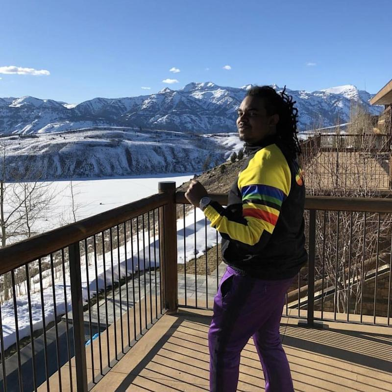 Producer Wheezy 5th (a frequent collaborator of Lil Uzi Vert's) posed on a deck in Wyoming in March 2018.