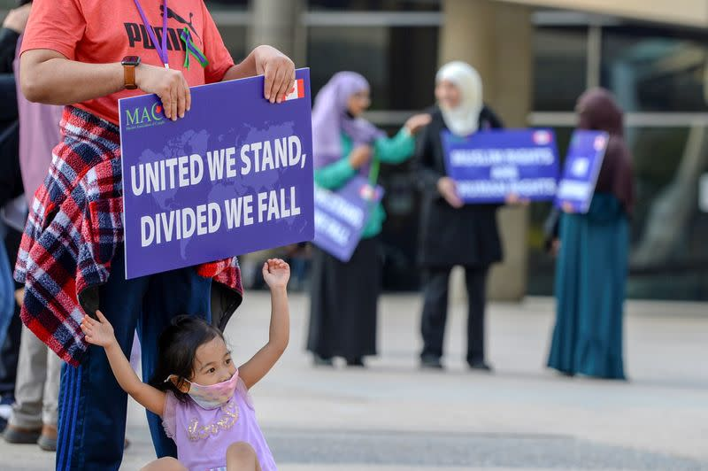 FILE PHOTO: People attend a rally to highlight Islamophobia in Toronto