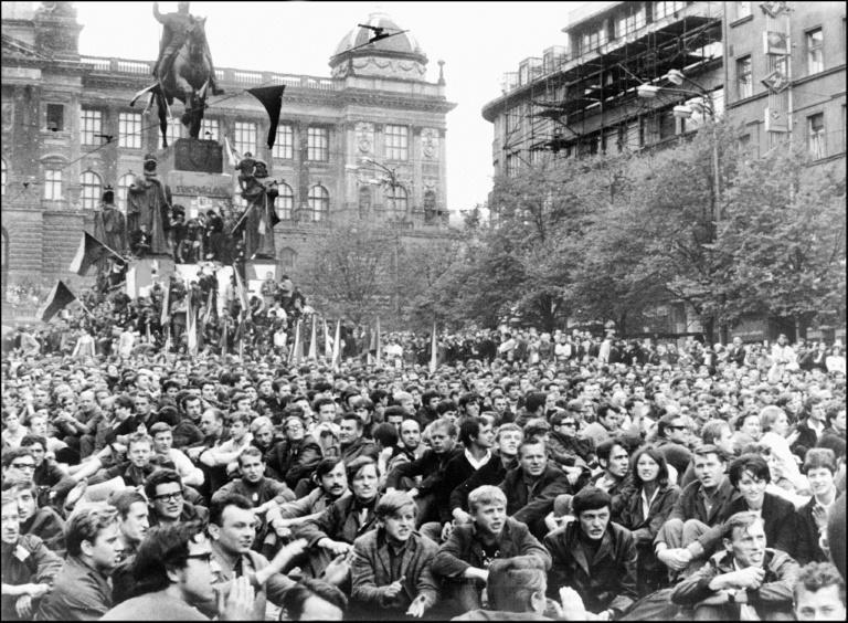 Prague residents gathered at Wenceslas Square on August 21, 1968 to protest the deployment of tanks from the Soviet Union and its allies