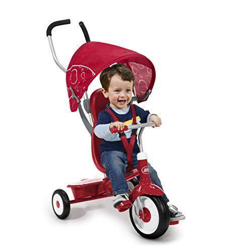 "<p><strong>Radio Flyer</strong></p><p>amazon.com</p><p><strong>$150.80</strong></p><p><a href=""https://www.amazon.com/dp/B003AVIO4K?tag=syn-yahoo-20&ascsubtag=%5Bartid%7C10055.g.34425717%5Bsrc%7Cyahoo-us"" rel=""nofollow noopener"" target=""_blank"" data-ylk=""slk:Shop Now"" class=""link rapid-noclick-resp"">Shop Now</a></p><p>This is a trike that will <strong>transition with your child from early toddlerhood through about 5 years old. </strong>The youngest riders can use the toddler trike with the removable footrest, then as a steering trike (1.5-2 years old), then in learn-to-ride trike mode (2-3 years old) and finally as a classic trike (4-5 years old). If you're looking to personalize or gift this, you can also opt for the <a href=""https://www.radioflyer.com/build-a-trike.html"" rel=""nofollow noopener"" target=""_blank"" data-ylk=""slk:custom trike"" class=""link rapid-noclick-resp"">custom trike</a> Radio Flyer offers.<br><br><strong>Ages:</strong> 9 months-5 years old<br><strong>Max Weight:</strong> 49 pounds</p>"