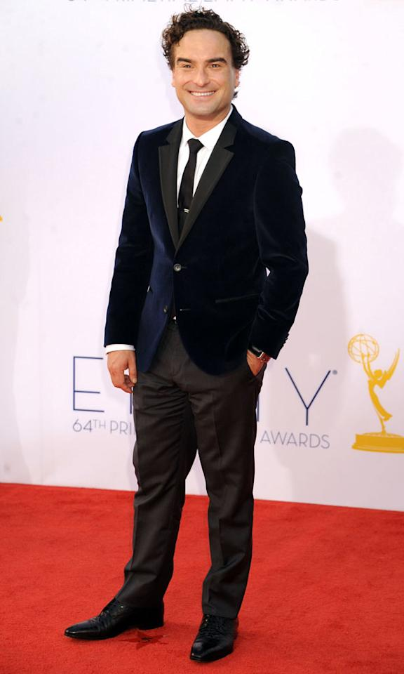 Johnny Galecki arrives at the 64th Primetime Emmy Awards at the Nokia Theatre in Los Angeles on September 23, 2012.