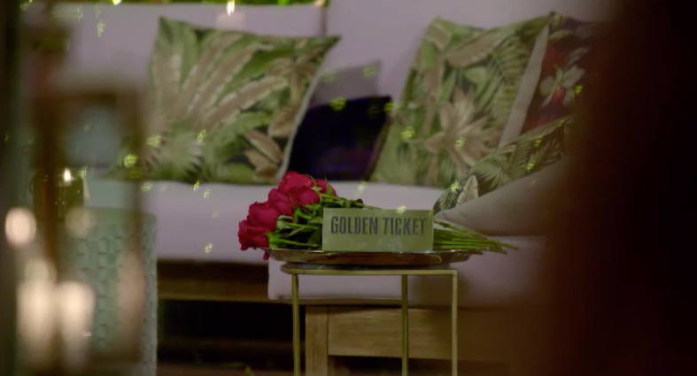 The golden ticket on The Bachelor. Photo: Channel Ten