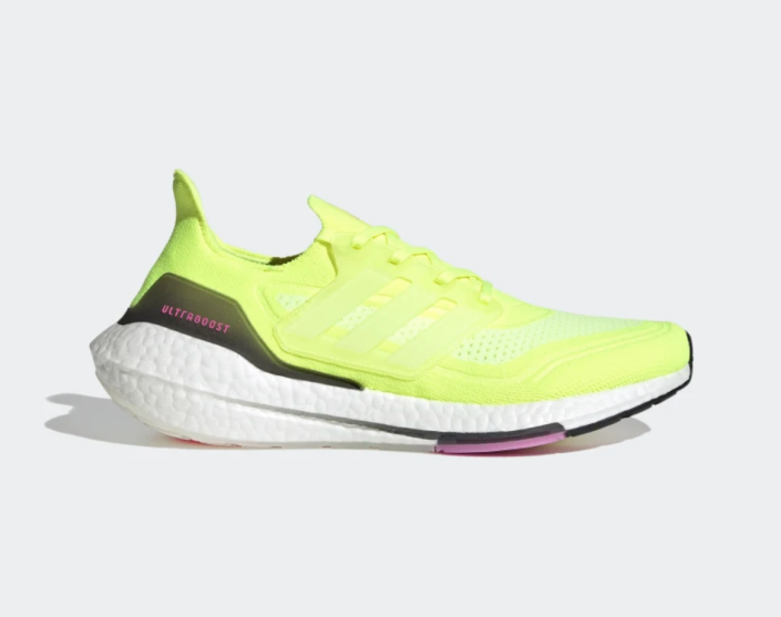 Ultraboost 21 Shoes in Solar Yellow (Photo via Adidas)