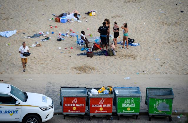 Councillors hit out at beachgoers for failing to use the bins provided on Bournemouth Beach on Thursday. (Getty)