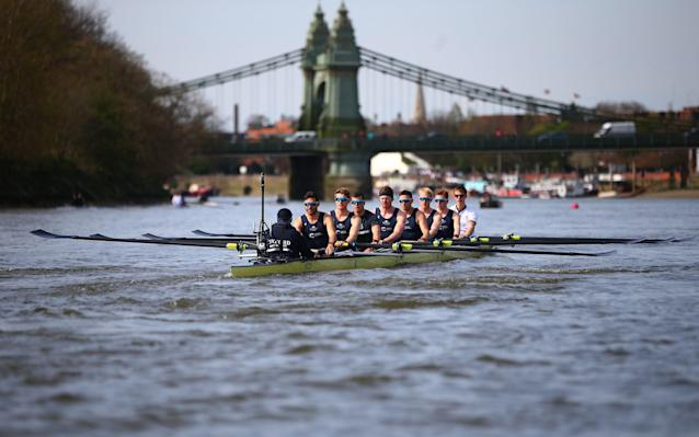 <span>The Oxford crew out on the water earlier this week</span> <span>Credit: Getty Images </span>
