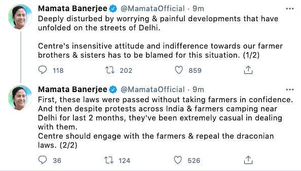 West Bengal CM Mamata Banerjee reacts to today's clashes between farmers and Delhi police