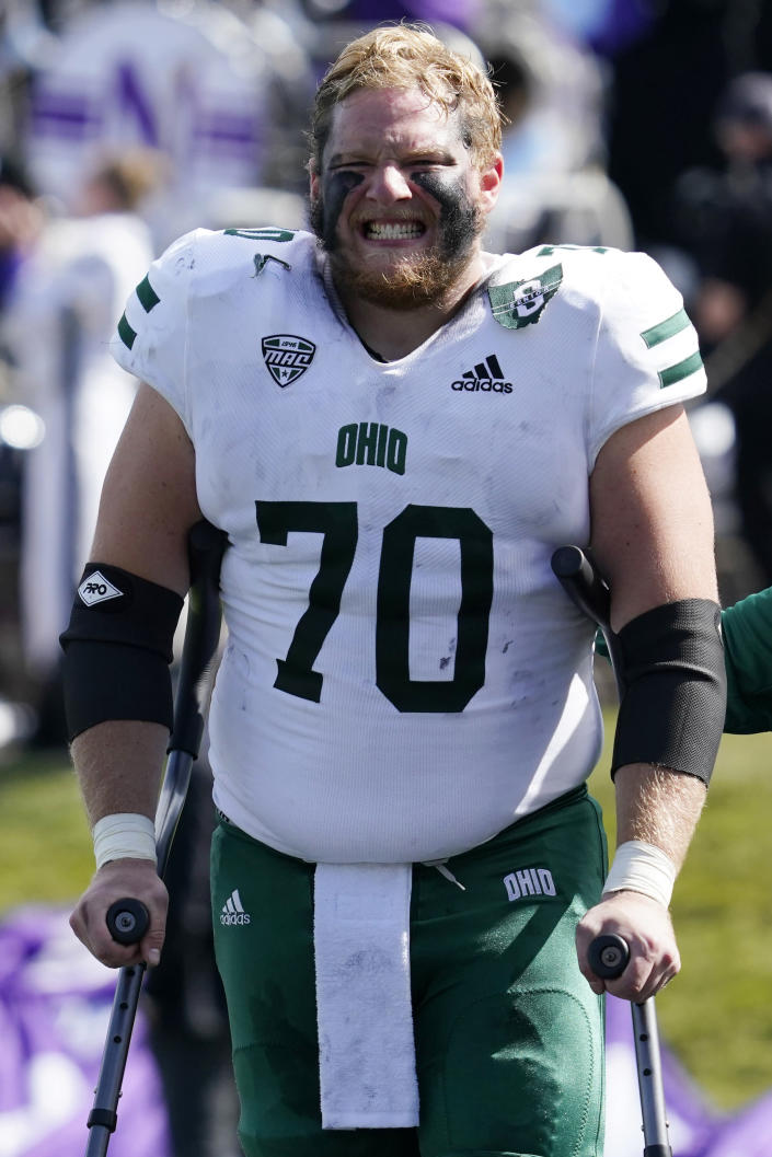 Ohio offensive lineman Nick Sink walks off the field after getting injured during the first half of an NCAA college football game against Northwestern in Evanston, Ill., Saturday, Sept. 25, 2021. (AP Photo/Nam Y. Huh)