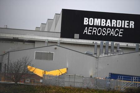 A Bombardier logo is seen at the Bombardier plant in Belfast, Northern Ireland January 26, 2018. REUTERS/Clodagh Kilcoyne