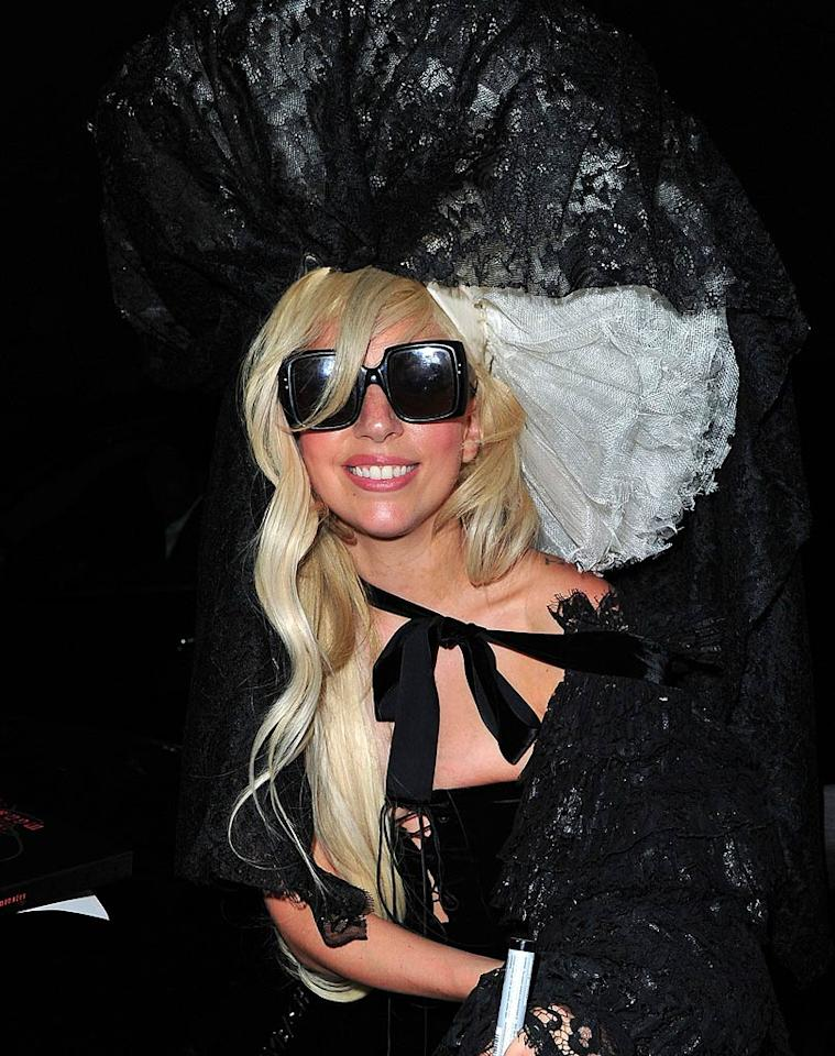 "Lady Gaga ... rocking a bizarre headdress ... what's new? That said, I am liking her tamed, blond tresses. James Devaney/<a href=""http://www.filmmagic.com/"" target=""new"">FilmMagic.com</a> - August 18, 2011"