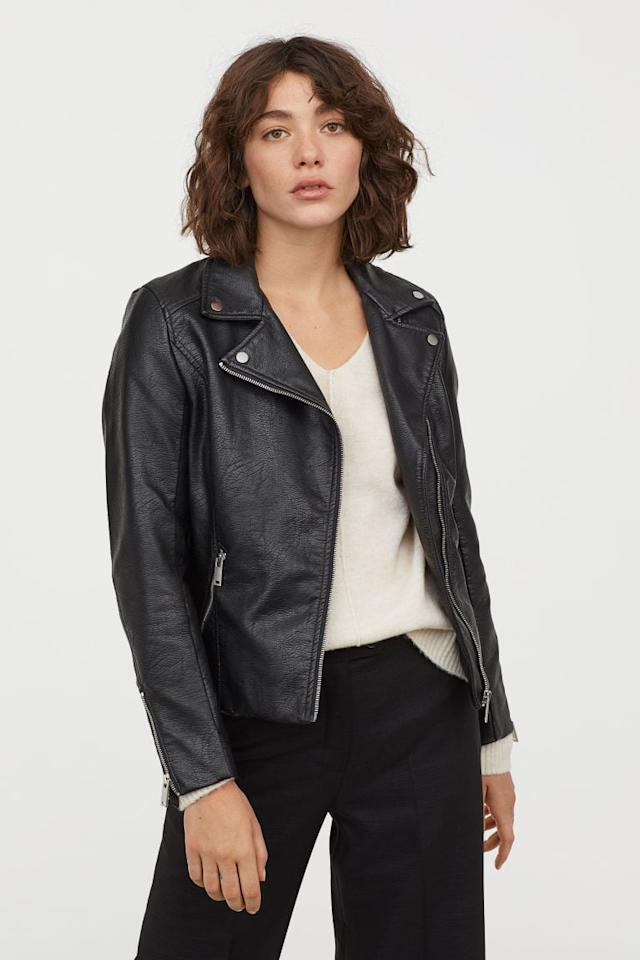 """<p>This classic <a href=""""https://www.popsugar.com/buy/HampM-Biker-Jacket-407820?p_name=H%26amp%3BM%20Biker%20Jacket&retailer=www2.hm.com&pid=407820&price=50&evar1=fab%3Aus&evar9=45205511&evar98=https%3A%2F%2Fwww.popsugar.com%2Ffashion%2Fphoto-gallery%2F45205511%2Fimage%2F45710052%2FHM-Biker-Jacket&list1=shopping%2Cfall%20fashion%2Ccoats%2Cfall%2Cjackets%2Cleather%20jackets%2Cwinter%20fashion&prop13=mobile&pdata=1"""" rel=""""nofollow"""" data-shoppable-link=""""1"""" target=""""_blank"""" class=""""ga-track"""" data-ga-category=""""Related"""" data-ga-label=""""https://www2.hm.com/en_us/productpage.0698776002.html"""" data-ga-action=""""In-Line Links"""">H&amp;M Biker Jacket </a> ($50) is a great option.</p>"""