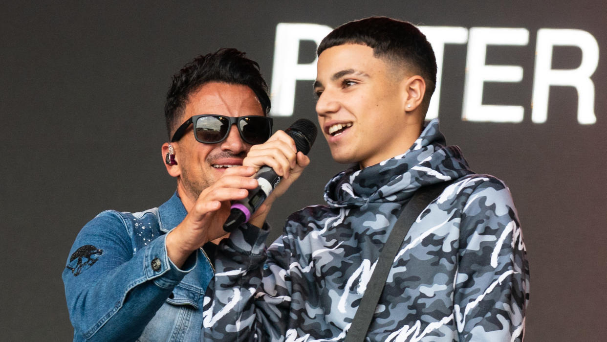 Junior Andre joined dad Peter Andre on stage last month and has now signed a record deal. (Lorne Thomson/Redferns)